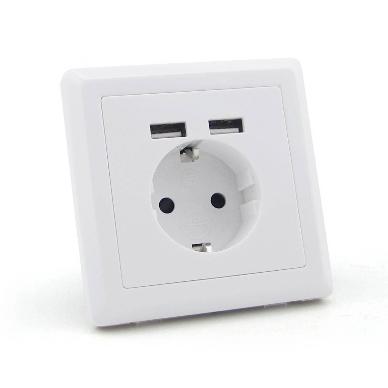 Homra USB stopcontact, USB wandcontactdoos 3in1 ( 2 stuks )