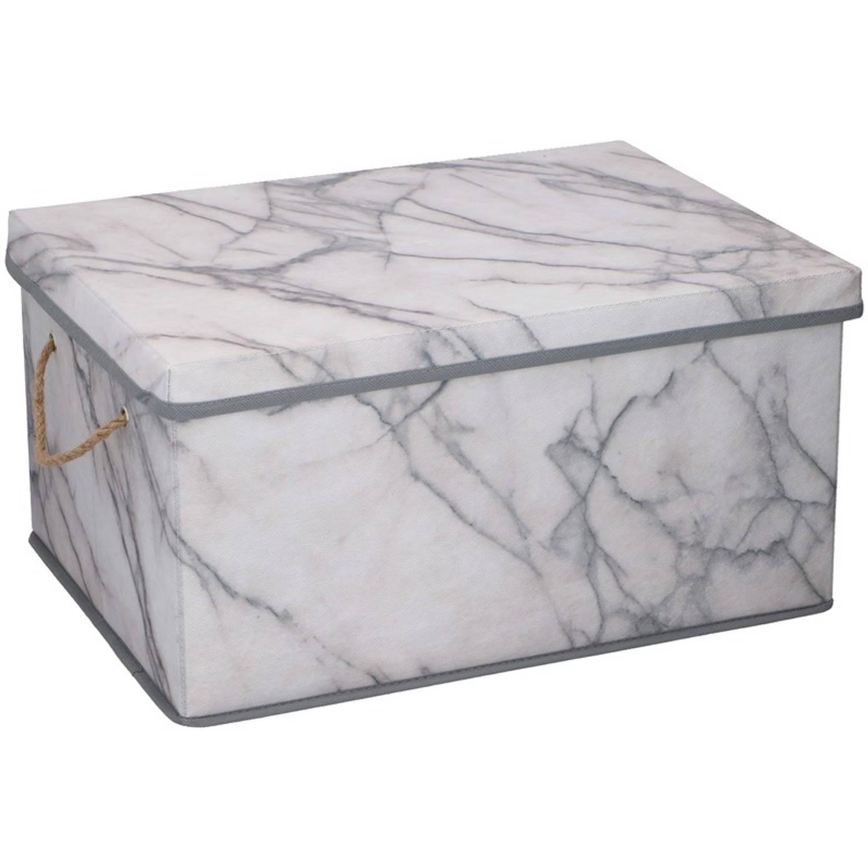 Opberg box / opberg doos 40 cm marmer 25 liter