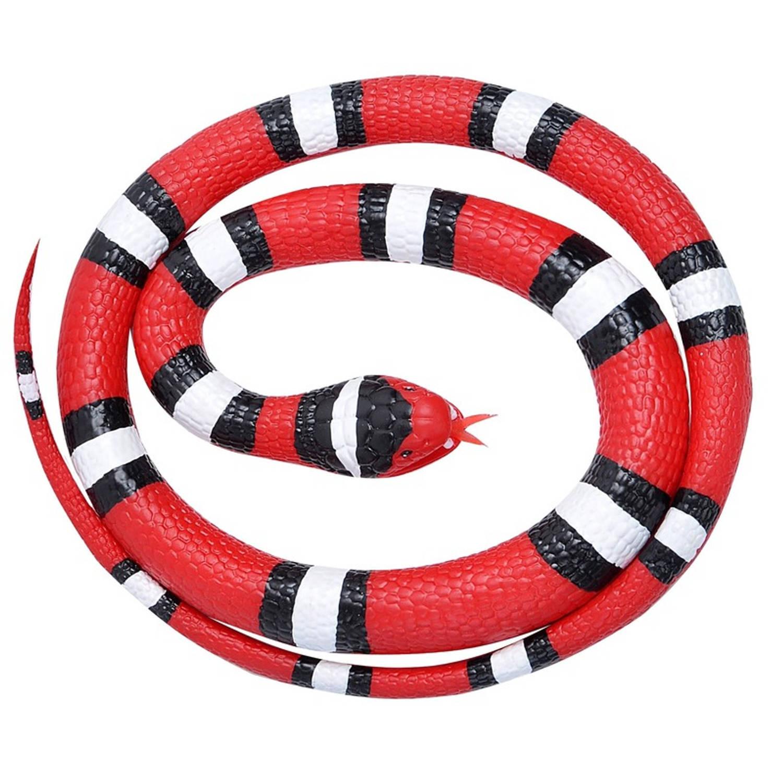 Afbeelding van Rubberen speelgoed scharlaken slang 117 cm - speelgoed dieren nepslangen