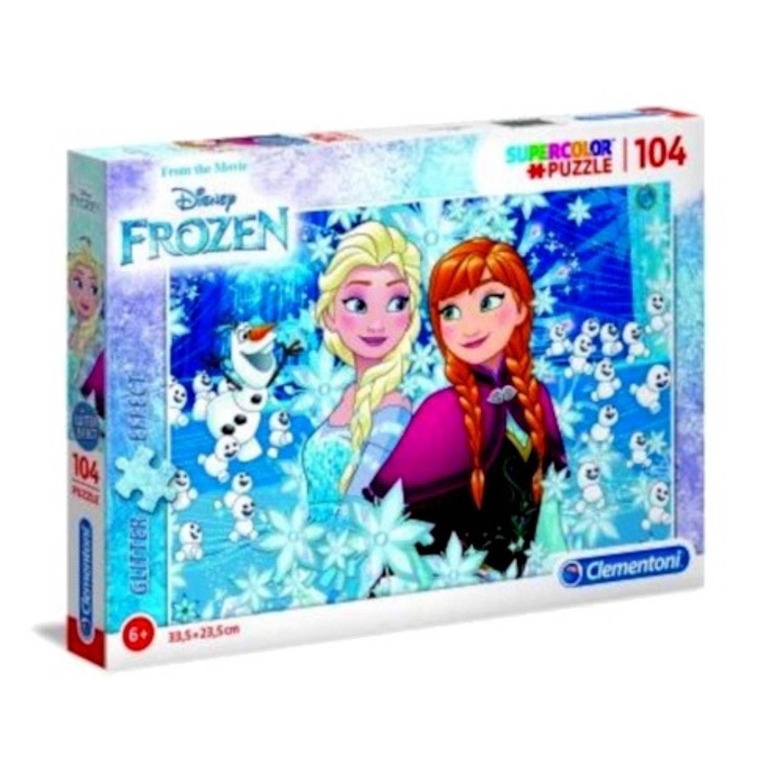 Clementoni puzzel Glitter Puzzle Frozen 104 stukjes