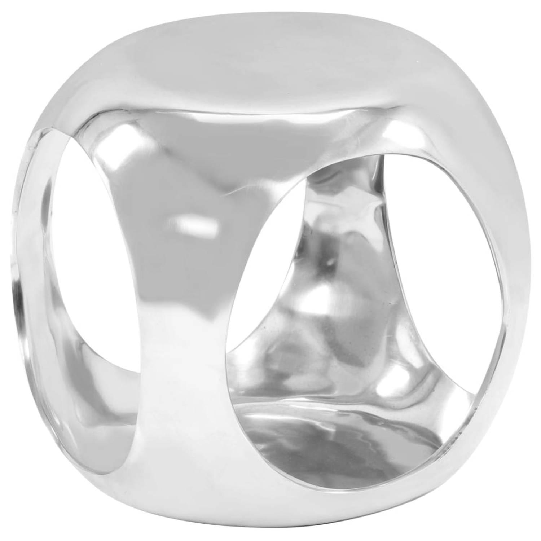 vidaXL Bijzettafel 35x35x35 cm gegoten aluminium zilverkleurig