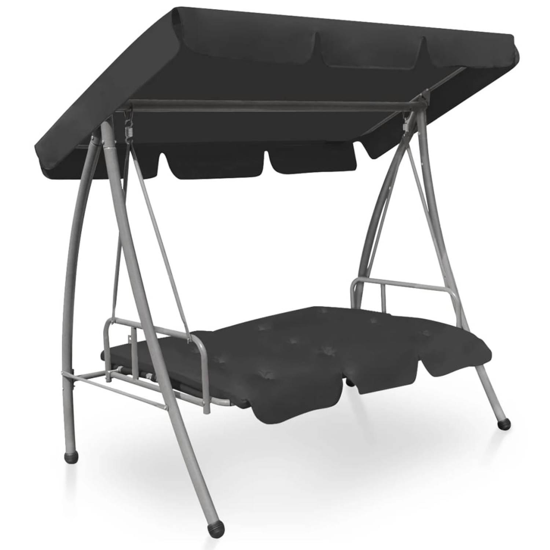 Vidaxl Tuinschommelstoel Met Luifel 192x118x175 Cm Staal Antraciet