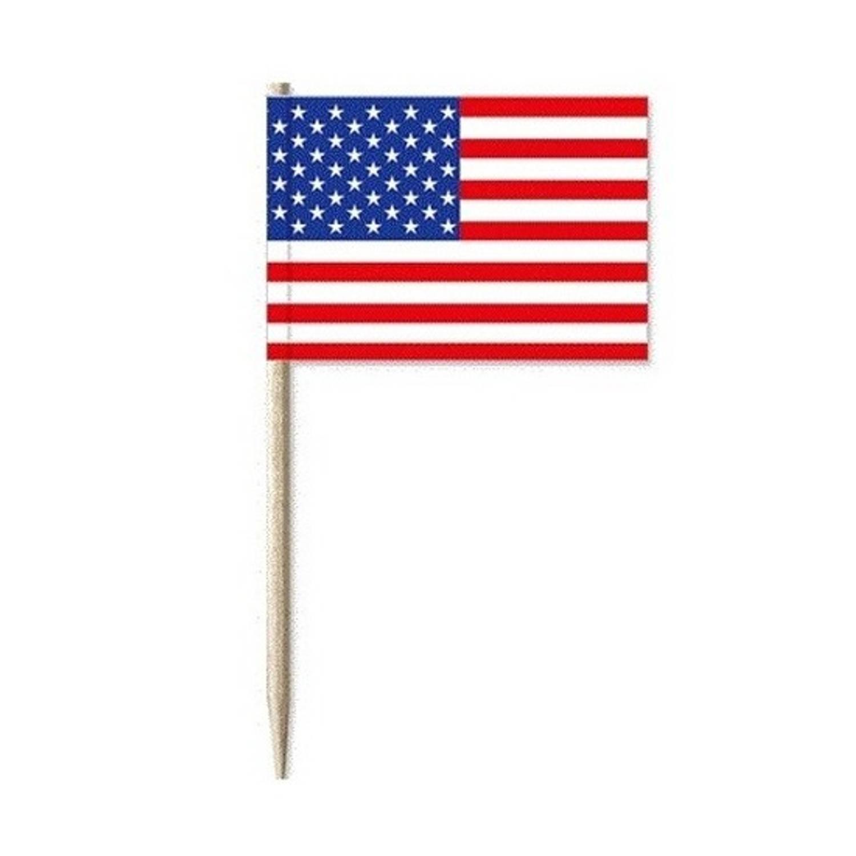 100x Cocktailprikkers Usa Amerika - Snack Prikkertjes Vlaggetjes