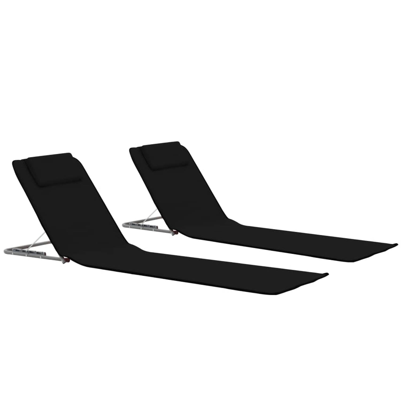 vidaXL Strandmatten inklapbaar 2 st staal en stof zwart