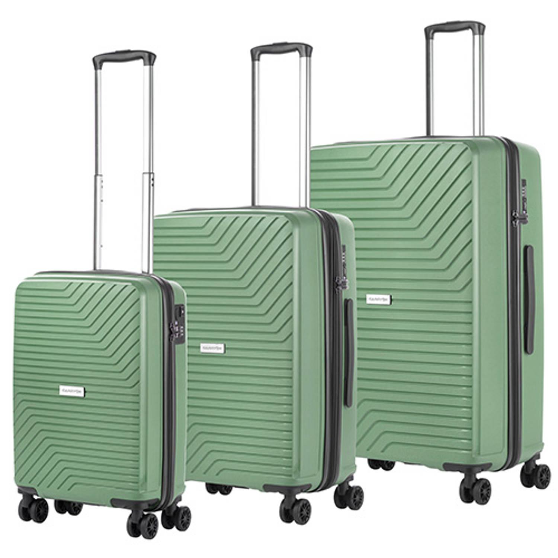 CarryOn Transport Kofferset -Trolleyset met OKOBAN YKK USB Olijf Groen
