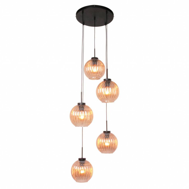 Freelight Hanglamp Zucca 5 lichts rond Amber