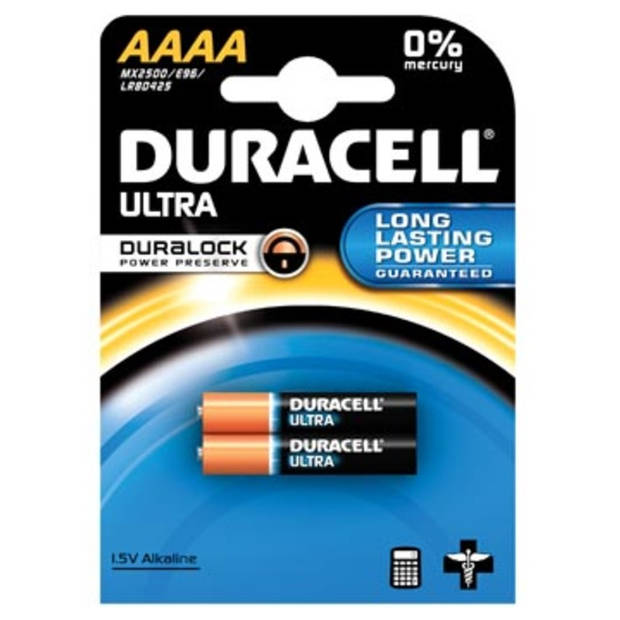 Duracell batterijen Ultra Power AAAA, blister van 2 stuks