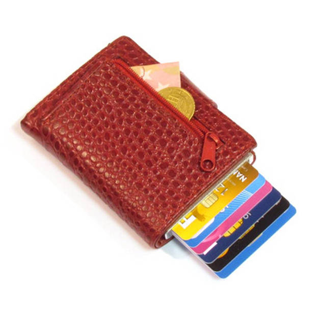 Figuretta Croco RFID Creditcardhouder Leer met Muntgeldvak Rood