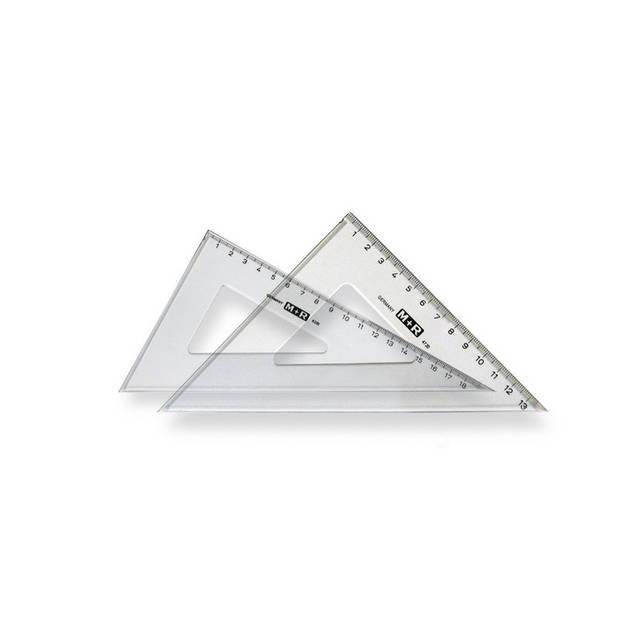Driehoekset Mobius & Ruppert 36cm 45 en 60 graden transparant