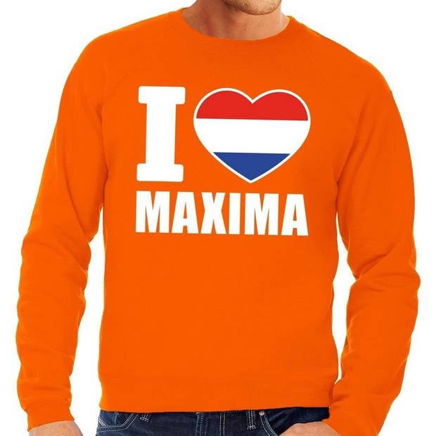 Oranje I love Maxima grote maten sweatshirt heren - Oranje Koningsdag/ Holland supporter kleding 3XL