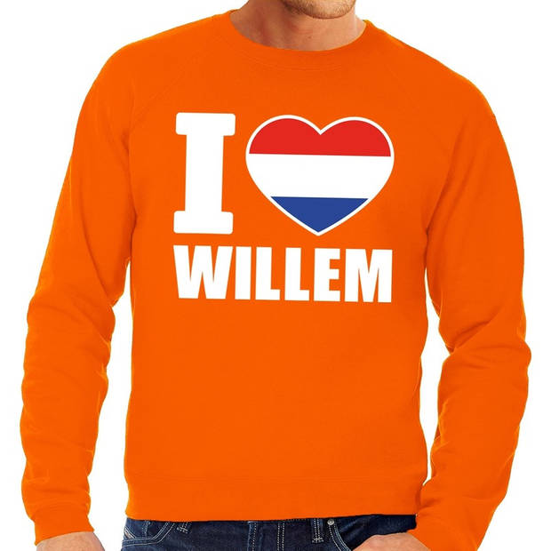 Oranje I love Willem grote maten sweatshirt heren - Oranje Koningsdag/ Holland supporter kleding 4XL