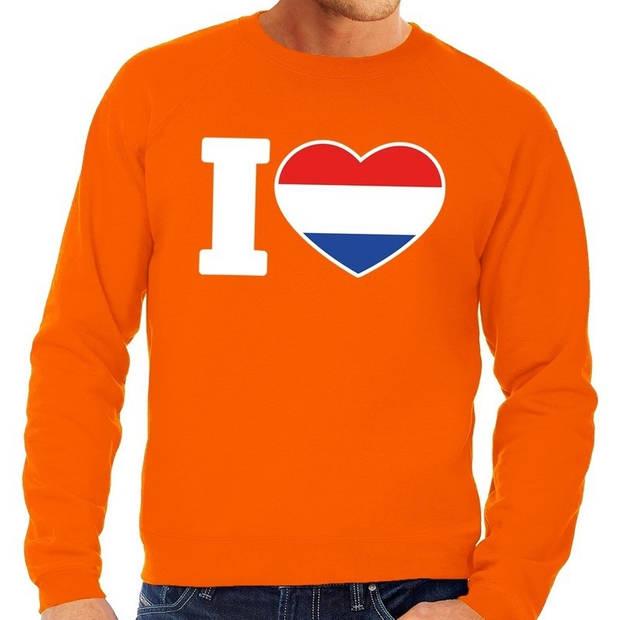 Oranje I love Holland grote maten sweatshirt heren - Oranje Koningsdag/ Holland supporter kleding 4XL