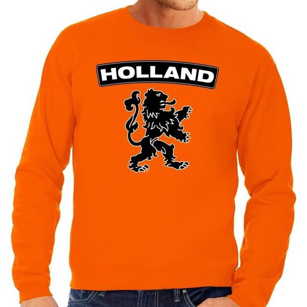 Oranje Nederlandse leeuw grote maten sweatshirt heren - Oranje Koningsdag/ Holland supporter kleding 4XL