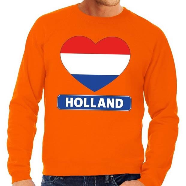 Oranje Hollands hartje grote maten sweatshirt heren - Oranje Koningsdag/ Holland supporter kleding 4XL