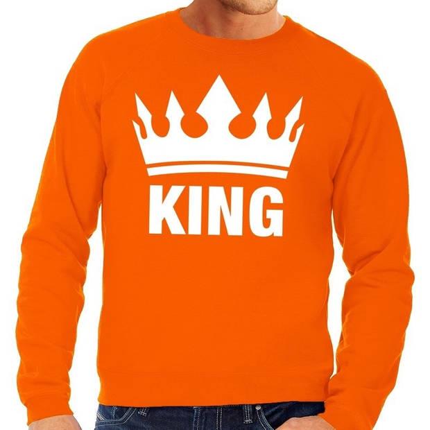 Oranje King kroon grote maten sweatshirt heren - Oranje Koningsdag/ Holland supporter kleding 3XL