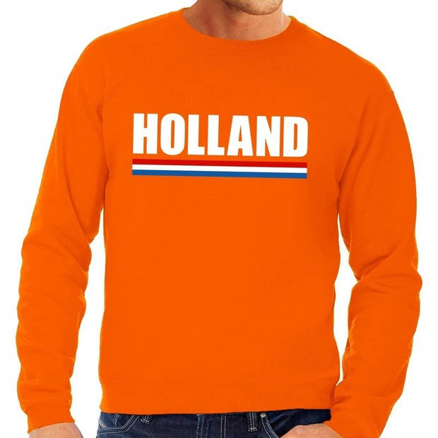 Oranje Holland grote maten sweatshirt heren - Oranje Koningsdag/ Holland supporter kleding 3XL