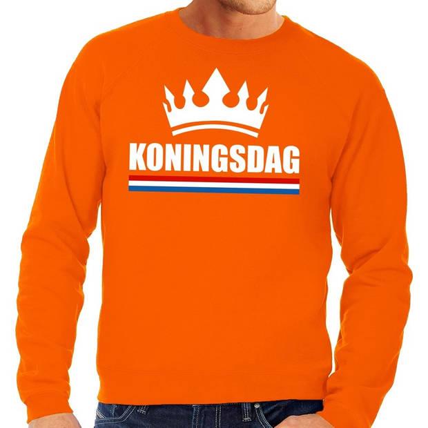 Oranje Koningsdag grote maten sweatshirt heren - Oranje Koningsdag/ Holland supporter kleding 4XL