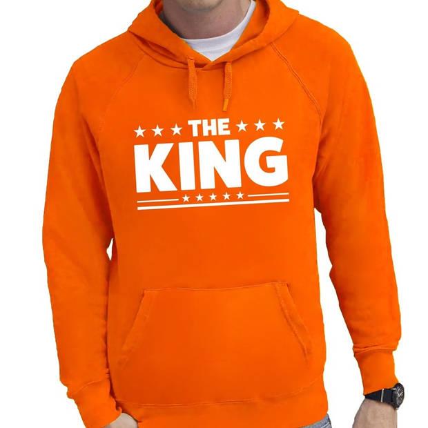 Oranje The King hoodie / hooded sweater heren - Oranje Koningsdag kleding 2XL