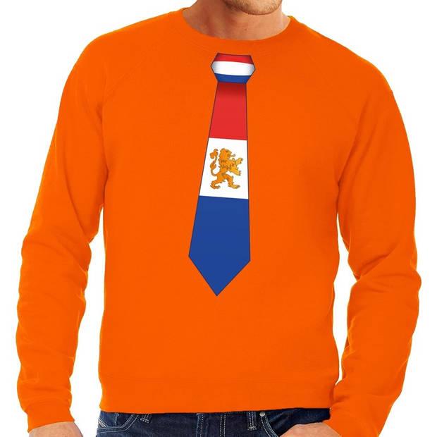 Oranje Holland stropdas sweater / trui heren - Oranje Koningsdag/ supporter kleding XL