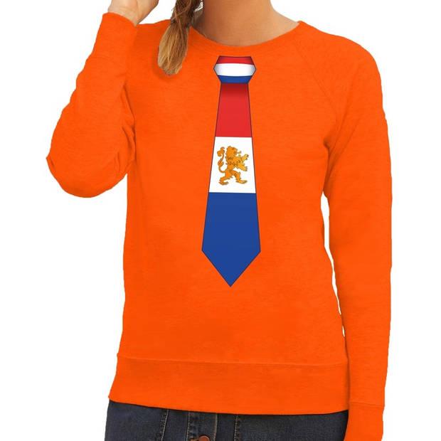Oranje Holland stropdas sweater / trui dames - Oranje Koningsdag/ supporter kleding L