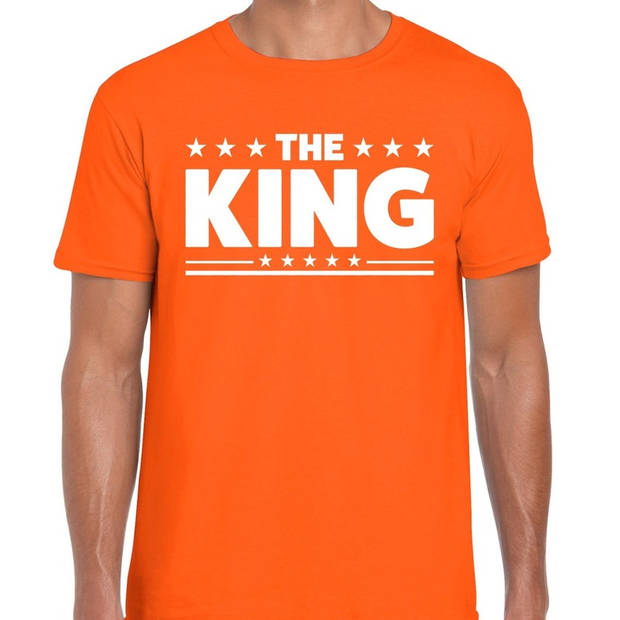 Oranje t-shirt The King heren - Koningsdag shirt/ kleding L