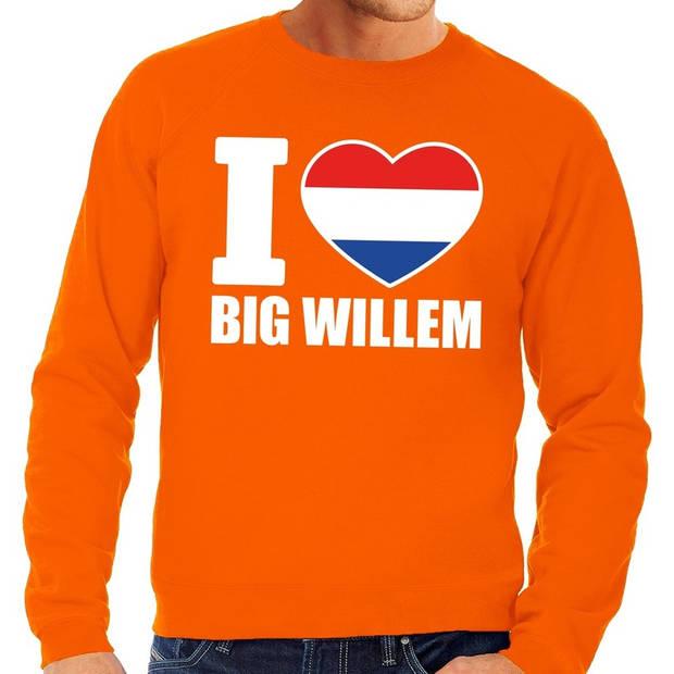 Oranje I love big Willem grote maten sweatshirt heren - Oranje Koningsdag/ Holland supporter kleding 4XL
