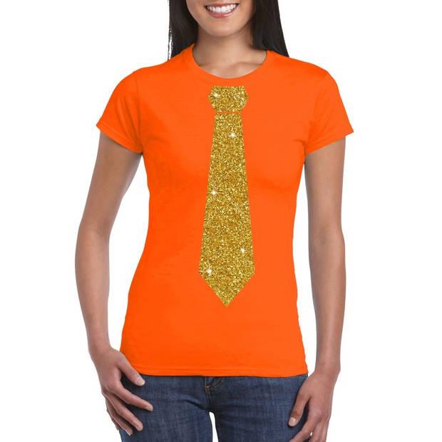 Oranje fun t-shirt met stropdas in glitter goud dames L