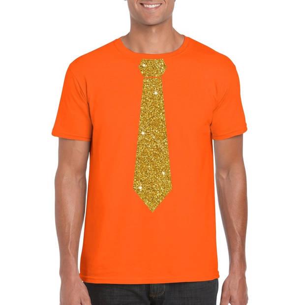 Oranje fun t-shirt met stropdas in glitter goud heren - leuk voor Koningsdag L