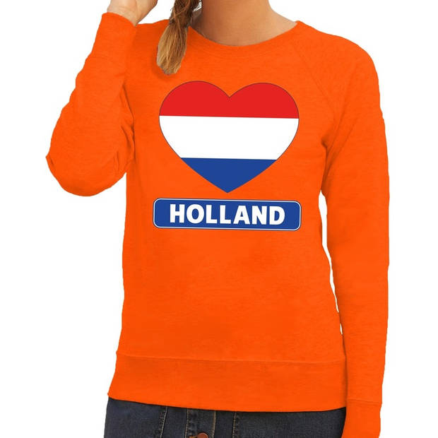 Oranje Holland hart vlag sweater / trui dames - Oranje Koningsdag/ supporter kleding XL