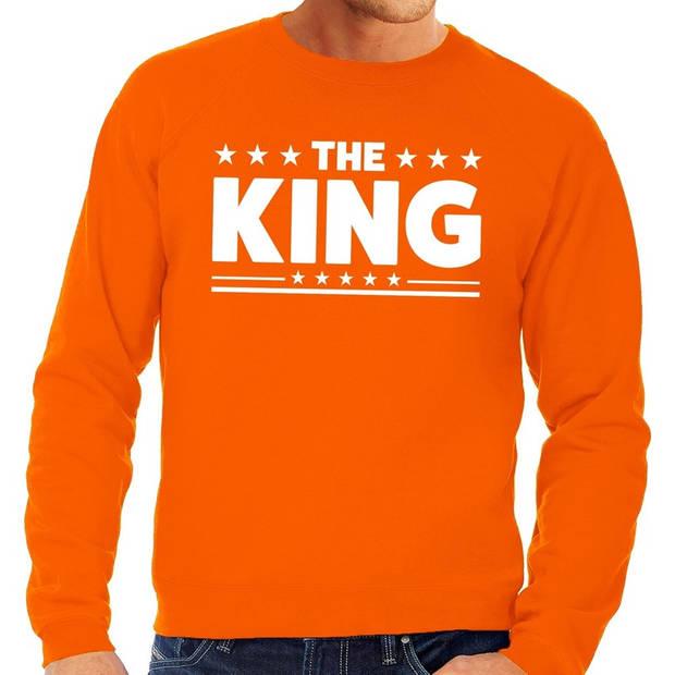 Oranje The King vlag sweater / trui heren - Oranje Koningsdag kleding 2XL