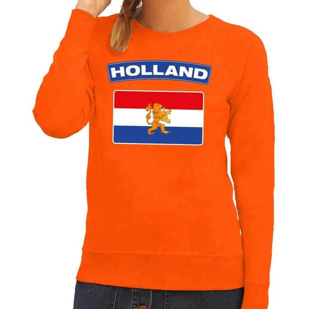 Oranje Holland vlag sweater / trui dames - Oranje Koningsdag/ supporter kleding M