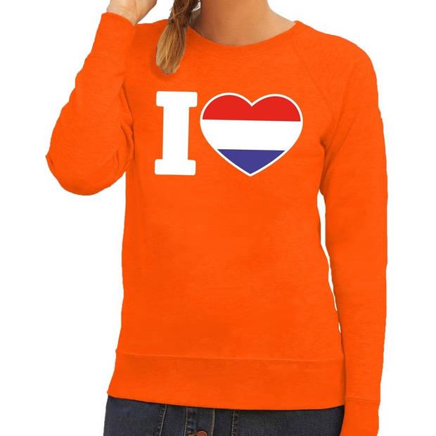 Oranje Holland vlag sweater / trui dames - Oranje Koningsdag/ supporter kleding L
