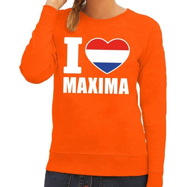 Oranje I love Maxima sweater / trui dames - Oranje Koningsdag/ supporter kleding XL