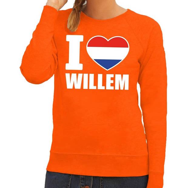 Oranje I love Willem sweater / trui dames - Oranje Koningsdag/ supporter kleding M