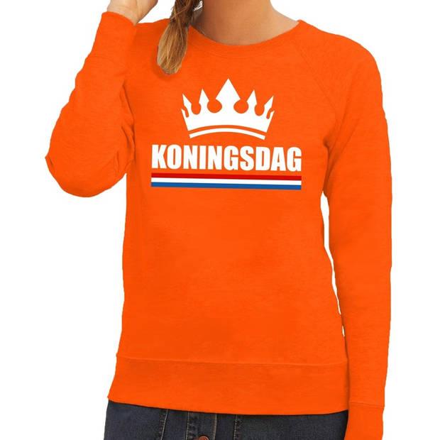 Oranje Koningsdag met een kroon sweater / trui dames - Oranje Koningsdag kleding L