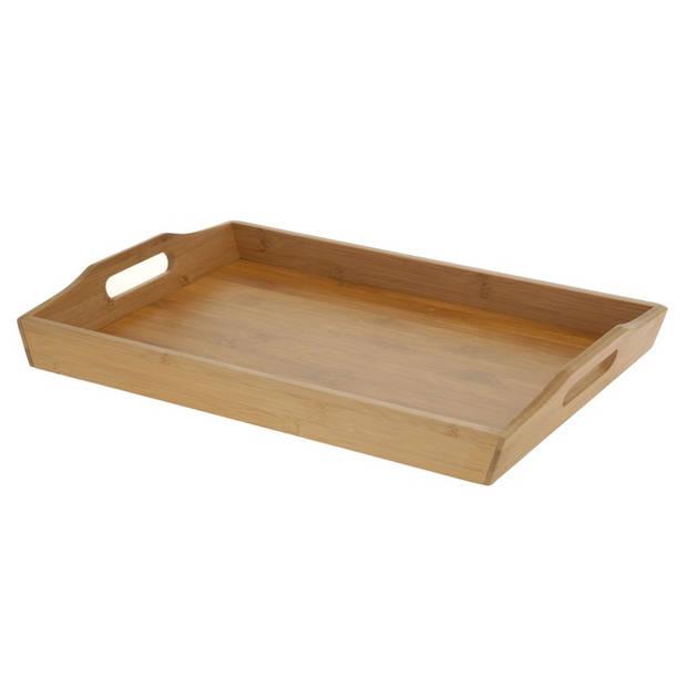 Bamboehouten dienblad/serveerblad 43 cm - Ontbijt op bed dienbladen