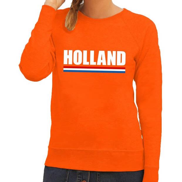 Oranje Holland supporter sweater / trui dames - Oranje Koningsdag/ supporter kleding L