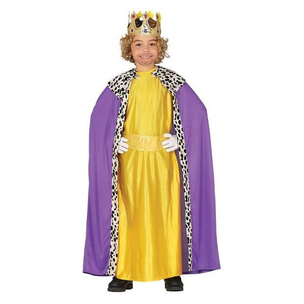 Koning mantel paars met geel verkleedkostuum voor kinderen 7-9 jaar (122-134)