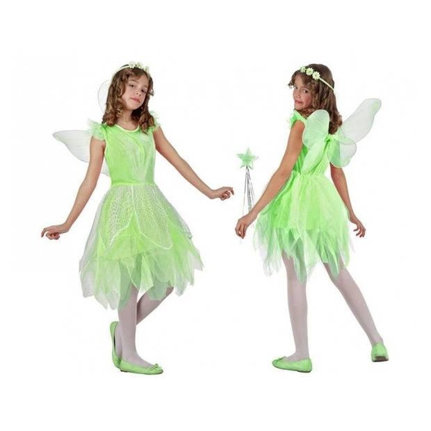 Groene toverfee/elf verkleedset voor meisjes - carnavalskleding - voordelig geprijsd 128 (7-9 jaar)