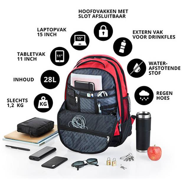 CarryOn Laptop Rugzak - Daily Business Laptoptas - 28 Liter - Rood