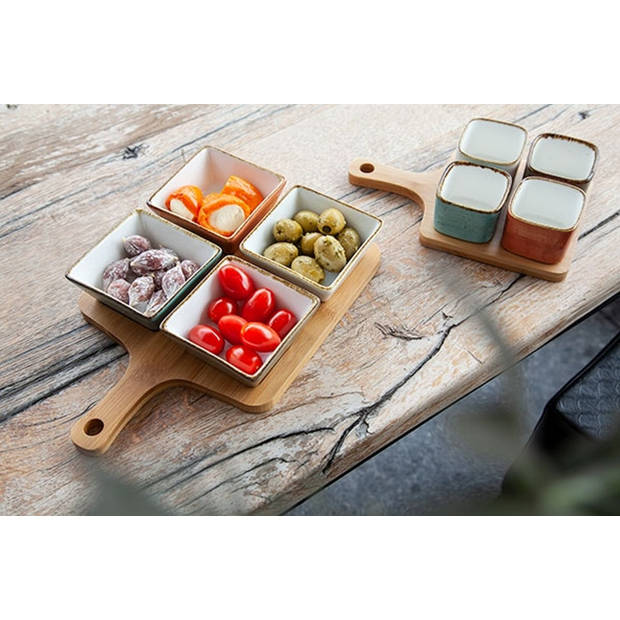 Cosy & Trendy Brisbane Mix snackset met serveerplank 29,5 x 20 cm - 5-delig