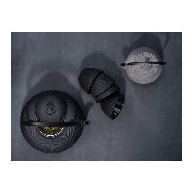 Cosy & Trendy Pumpkin theepot met 4 kopjes - gietijzer - zwart