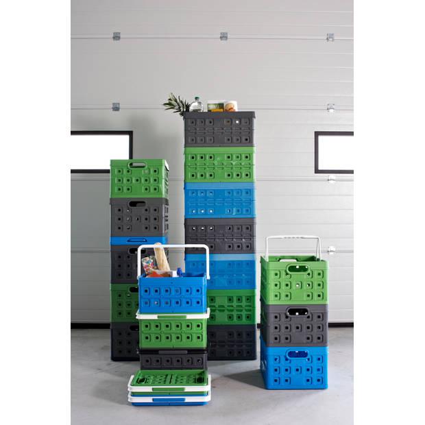 Square Vouwkrat - 32L - Met 2 extra handgrepen - natuur-groen/wit