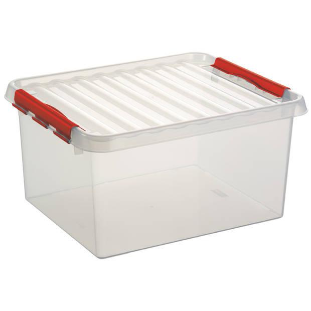 Q-line Opbergbox - 36L - transp/rood