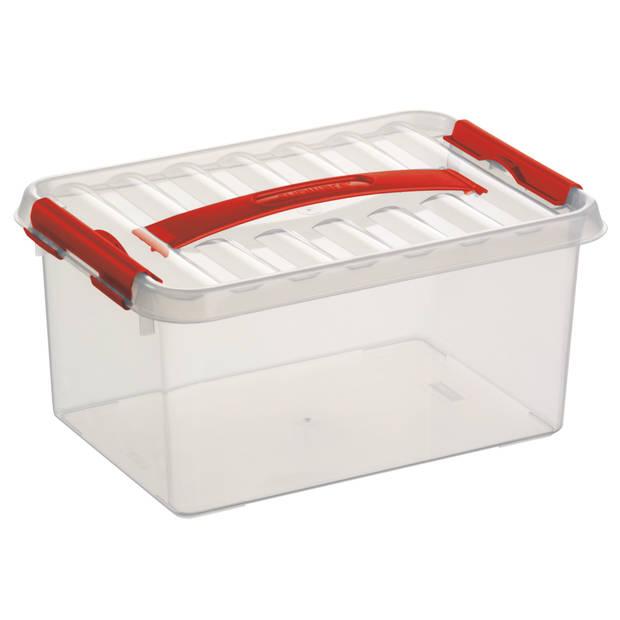 Q-line Opbergbox - 6L - transp/rood