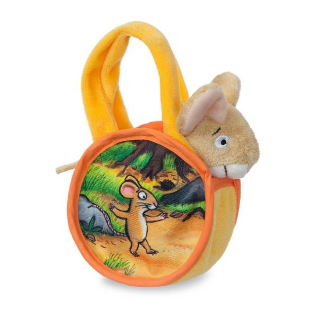 Aurora knuffelmuis in tas 18 cm geel/oranje