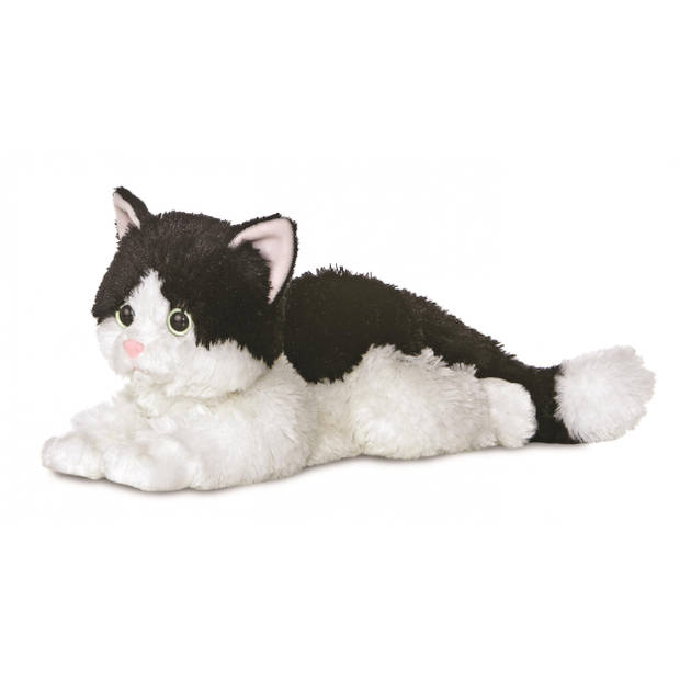 Aurora knuffelkat Ellie Flopsie 30,5 cm zwart/wit