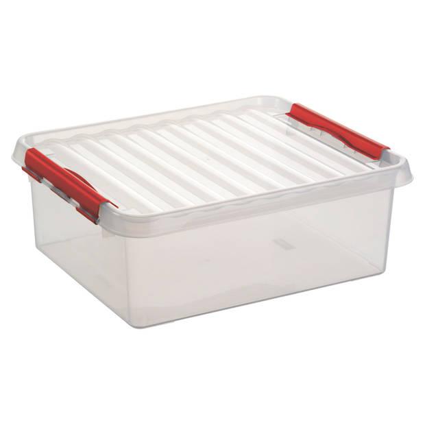 Q-line Opbergbox - 25L - transp/rood