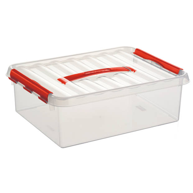 Q-line Opbergbox - 10L - transp/rood