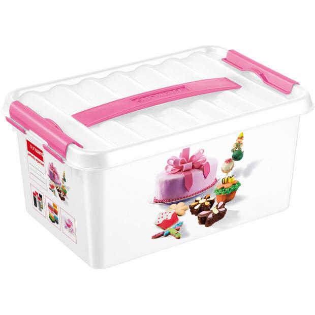 Q-line Fun Baking Opbergbox -6L - Met handgreep - wit/roze